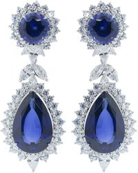 Fantasia by Deserio Cubic Zirconia Marquise Drop Earrings - Blue