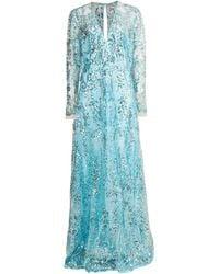 Naeem Khan Aqua Long Sleeve Paillette Embroidered Gown - Blue