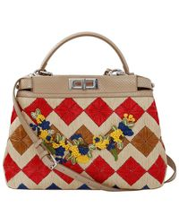 Fendi Straw Floral Peekaboo - Red