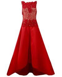 Naeem Khan Beaded Taffeta Gown - Red