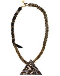 Lanvin Luxor Pyramid Necklace - Metallic