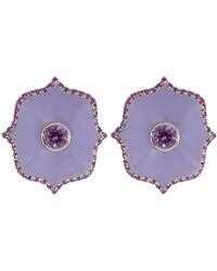 Bayco - Small Purple Ceramic Lotus Earrings - Lyst