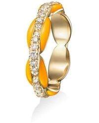 Melissa Kaye Ada Neon Orange Enamel And Diamond Pinky Ring - Multicolour