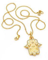 Buddha Mama Baby White And Beige Hamsa Pendant With Diamonds - Metallic