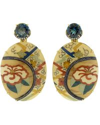 Silvia Furmanovich Marquetry Camellia Flower Earrings - Multicolour