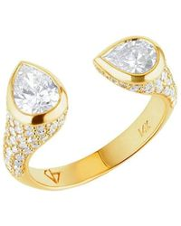 Carbon & Hyde Mini Twin Ring - Yellow Gold - Metallic