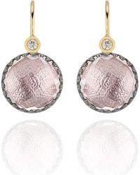Larkspur & Hawk Small Olivia Button Diamond Earrings - Blush - Metallic