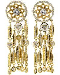 Buddha Mama Dream Catcher Feather Earrings - Metallic