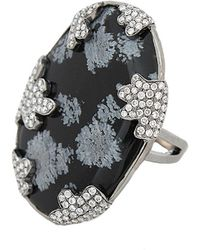 Colette - Snowflake Obsidian Ring - Lyst