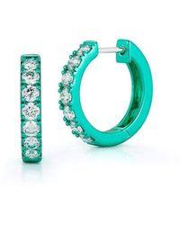 Katherine Jetter Diamond Emerald Mini Huggies - Multicolour