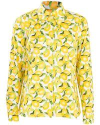 Michael Kors Lemon Print Button Down Blouse - Yellow