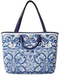Dolce & Gabbana Majolica Print Medium Tote - Blue