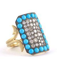 Sylva & Cie Turquoise Ten Table Ring - Blue