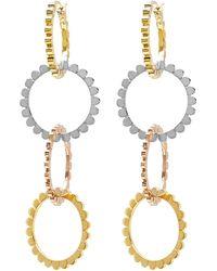 Nancy Newberg - Four Linked Tri Gold Hoop Earrings - Lyst