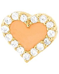 Alison Lou - Coral Enamel And Diamond Heart Stud - Lyst