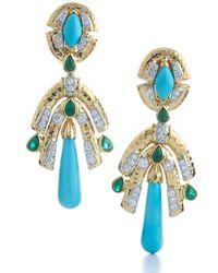 David Webb - Golden Drape Earrings - Lyst