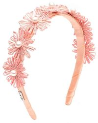 Eugenia Kim Coral Azalea Straw Palm Flower Pearl Headband - Multicolor