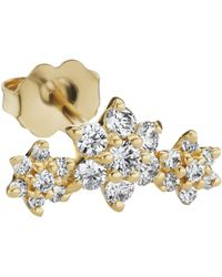 Maria Tash Three Diamond Flower Garland Yellow Gold Stud - Multicolor