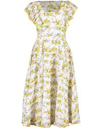 Gül Hürgel Ruffle Sleeve Daisy Print Midi Dress - Yellow