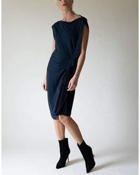 Lanvin Sleeveless Ruffle Side Pull On Dresss - Blue