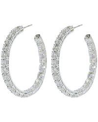 Bayco Medium Round Diamond Hoop Earrings - Multicolour