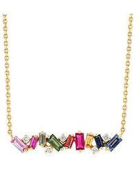 Suzanne Kalan Rainbow Sapphire Fireworks Bar Necklace - Yellow Gold - Metallic