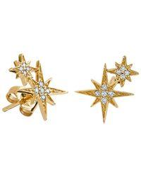 Sydney Evan Double Pave Diamond Starburst Studs - Metallic
