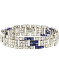 Fred Leighton Art Deco Diamond And Sapphire Brick Bracelet - Metallic