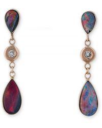 Jacquie Aiche Teardrop Austrailian Opal Earrings - Multicolour
