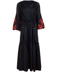 Sensi Studio Balloon Sleeve Embroidered Maxi Dress - Black