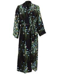 BERNADETTE Long Peignoir Silk Coat - Blue & Black - Multicolour
