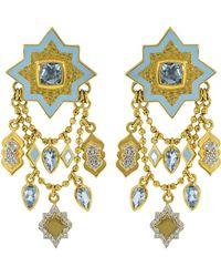 Buddha Mama Blue Topaz Lantern Chain Earrings - Metallic