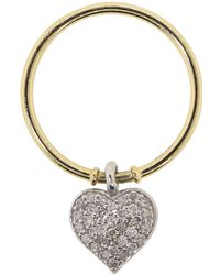 Nancy Newberg - White Diamond Pave Heart Charm Ring - Lyst