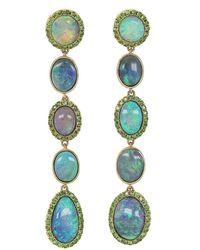 Katherine Jetter Opal And Tsavorite Line Earrings - Blue