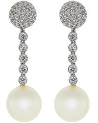 Fantasia by Deserio Pearl Ball Drop Clip Earrings - Multicolour
