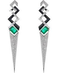 Nikos Koulis V Emerald Diamond And Black Enamel Earrings - Multicolour