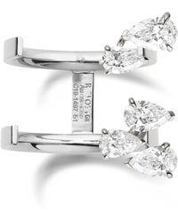 Repossi Serti Sur Vide Pear Diamond Ring - Multicolour