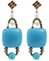 Ziio Armonia Pyrite Stone And Bead Earrings - Blue