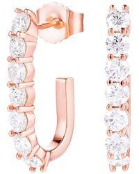 Carbon & Hyde Sparkler Pin Earrings - Rose Gold - White