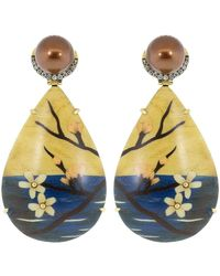 Silvia Furmanovich Marquetry Cherry Blossom Teardrop Earrings - Multicolour