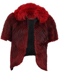 J. Mendel Striped Fur Jacket With Fox Trim - Red