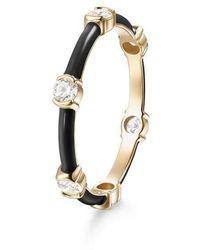 Melissa Kaye Zea Black Enamel And Diamond Ring - Metallic