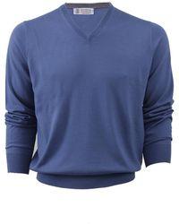 Brunello Cucinelli | V-neck Fine Gauge Sweater | Lyst