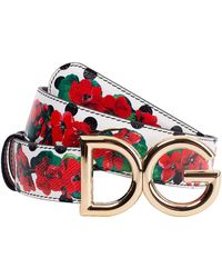 Dolce & Gabbana Reversible Print Leather Belt - Red