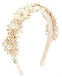 Eugenia Kim Ivory Azalea Straw Palm Flower Pearl Headband - White
