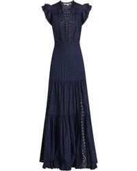 Veronica Beard Satori Eyelet Maxi Dress - Navy - Blue