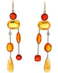 Irene Neuwirth - Fire Opal Diamond Drop Earrings - Lyst