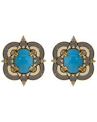 Buddha Mama Turquoise Enamel And Diamond Stud Earrings - Blue