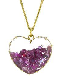 Renee Lewis Ruby Heart Shake Necklace - Metallic