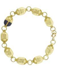 Pamela Love Pave Blue Sapphire Scarab Link Bracelet